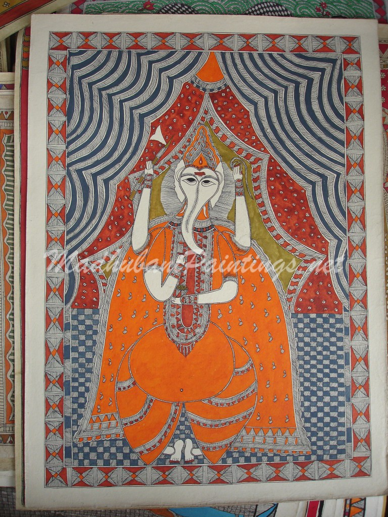 Ganesha-Yellow with Parsu - Madhubani Painting